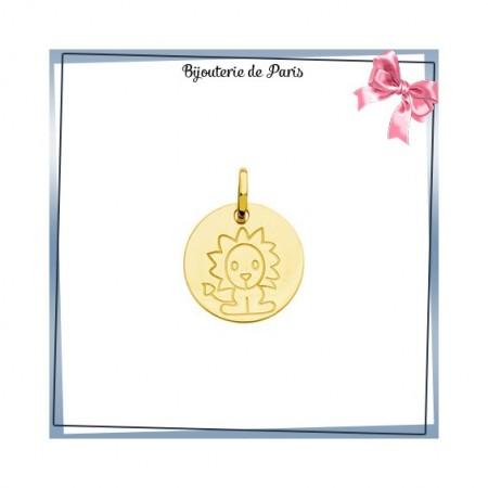 Pendentif zodiaque lion rond Or 18 carats jaune - 14 mm