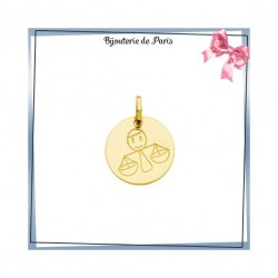 Pendentif zodiaque balance rond Or 18 carats jaune - 14 mm