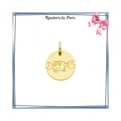 Pendentif zodiaque cancer rond Or 18 carats jaune - 14 mm