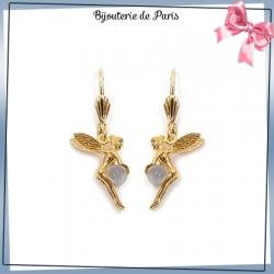 Boucles d'oreilles dormeuses fée quartz blanc plaqué or