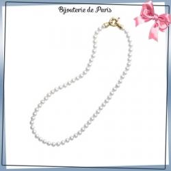 Collier perles de Majorque en plaqué or - 6 mm